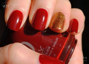 Orly Bus Stop Crimson with Nicole by OPI Glitter in my Stocking