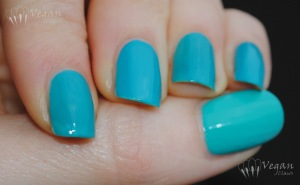 OPI Fly, Milani Fresh Teal, Kleancolor Catch Me, with flash