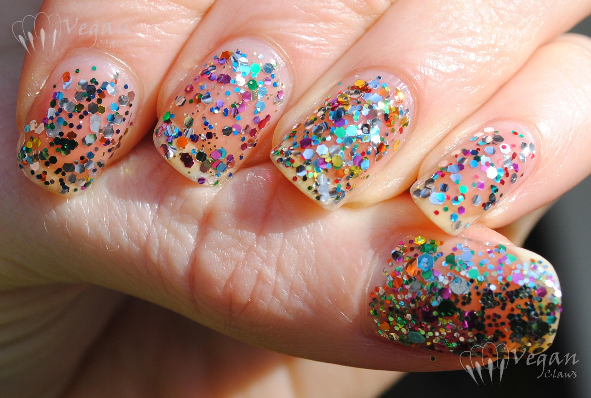 Multi Coloured Glitter Comparison Vegan Claws