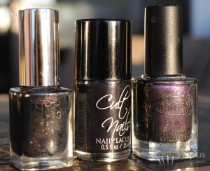 NYX Deep Space, Cult Nails Mind Control, Color Club Alias