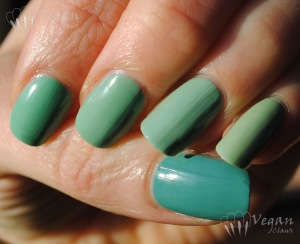 NYX Girls Algae, Orly Ancient Jade, Sally Girl TTFN, Misa Catch a Flick, Nubar Vogue Vert