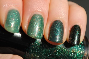 Cult Nails Toxic Seaweed layered over Mazo, Baker, Tulum, Swanbourne