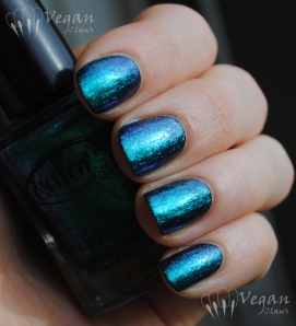 Color Club Metamorphosis and Nicole by OPI Iceberg Lotus, over black