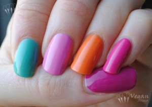 Thumb to pinkie: Zoya Reagan, Wednesday, Shelby, Arizona, Lara. Bottle: Zoya Tracie