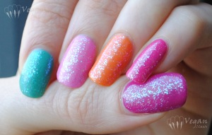 Thumb to pinkie: Zoya Reagan, Wednesday, Shelby, Arizona, Lara, topped with Sally Girl Way2Disco