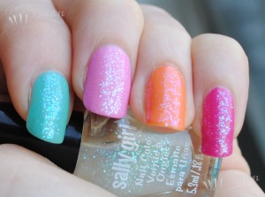 Index to pinkie: Zoya Wednesday, Shelby, Arizona, Lara, topped with Sally Girl Way2Disco