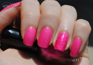 Kleancolor Pink Lady, stamped on ring finger with Kleancolor Neon Fuchsia and Kleancolor Metallic Pink