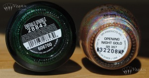 China Glaze Emerald Sparkle and OPI Opening Night Gold