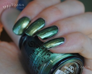 China Glaze Unpredictable over black