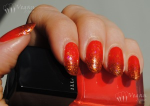 Illamasqua Whack with Nubar Orange Glitter and Fingerpaints Twisted