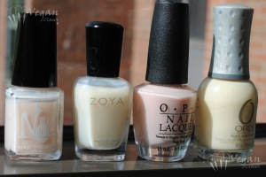 No Miss Casselberry Cream, Zoya Lucy, OPI Barre My Soul, Orly My Beau