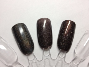 Color Club Revvvolution, Soulstice Troy, OPI My Private Jet (scattered holo with reddish-brown flash version)