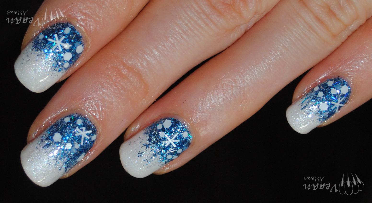 Holiday Nail Art Challenge Week 1 Snow Vegan Claws