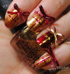 OPI Goldeneye and Kleancolor Metallic Red