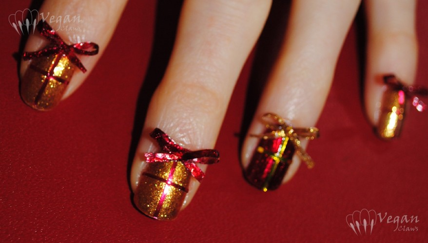 OPI Goldeneye and Kleancolor Metallic Red