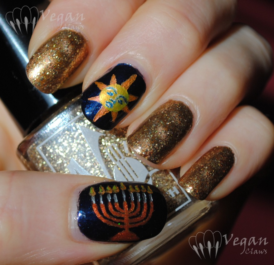 China Glaze Gold Fusion, No Miss Sand, and OPI Goldeneye, with Hanukkah and Saturnalia accent nails
