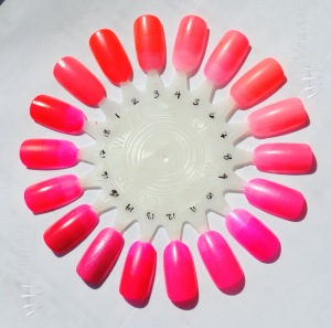 1) Kleancolor Barbie Pink, 2) China Glaze Surfin' for Boys, 3) China Glaze Flirty Tankini, 4) China Glaze Shell-o, 5) China Glaze Pink Plumeria, 6) China Glaze Flip Flop Fantasy, 7) China Glaze Neon & On & On, 8) Milani Pink Hottie, 9) Color Club Electro candy, 10) Zoya Kiki, 11) Color Club Poptastic, 12) Kleancolor Neon Pink, 13) Misa Girls' Night Out, 14) Kleancolor Pink Lady, 15) Zoya Renée, 16) Orly Passion Fruit, 17) China Glaze Rose Among Thorns, 18) Misa Bikini With a Martini