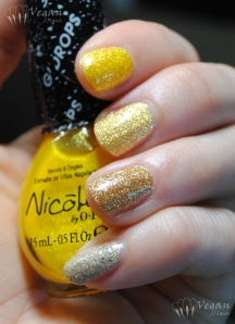 Nicole by OPI Lemon Lolly, Zoya Solange, LA Colors Art Deco striper in 24K Glitter, LA Girl Sands of Time