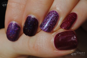 Thumb to pinkie: Picture Polish Monroe (original version), Ozotic 513, Glitter Gal Transfusion, Zoya Aurora, LA Girl Sparkle Ruby