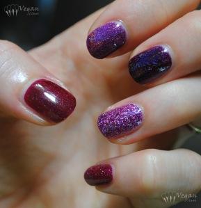 Thumb to pinkie: Picture Polish Monroe (original version), Ozotic 513, Glitter Gal Transfusion, Zoya Aurora, LA Girl Sparkle Ruby