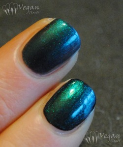 Authority Cosmetics Emerald Sky alone and over black