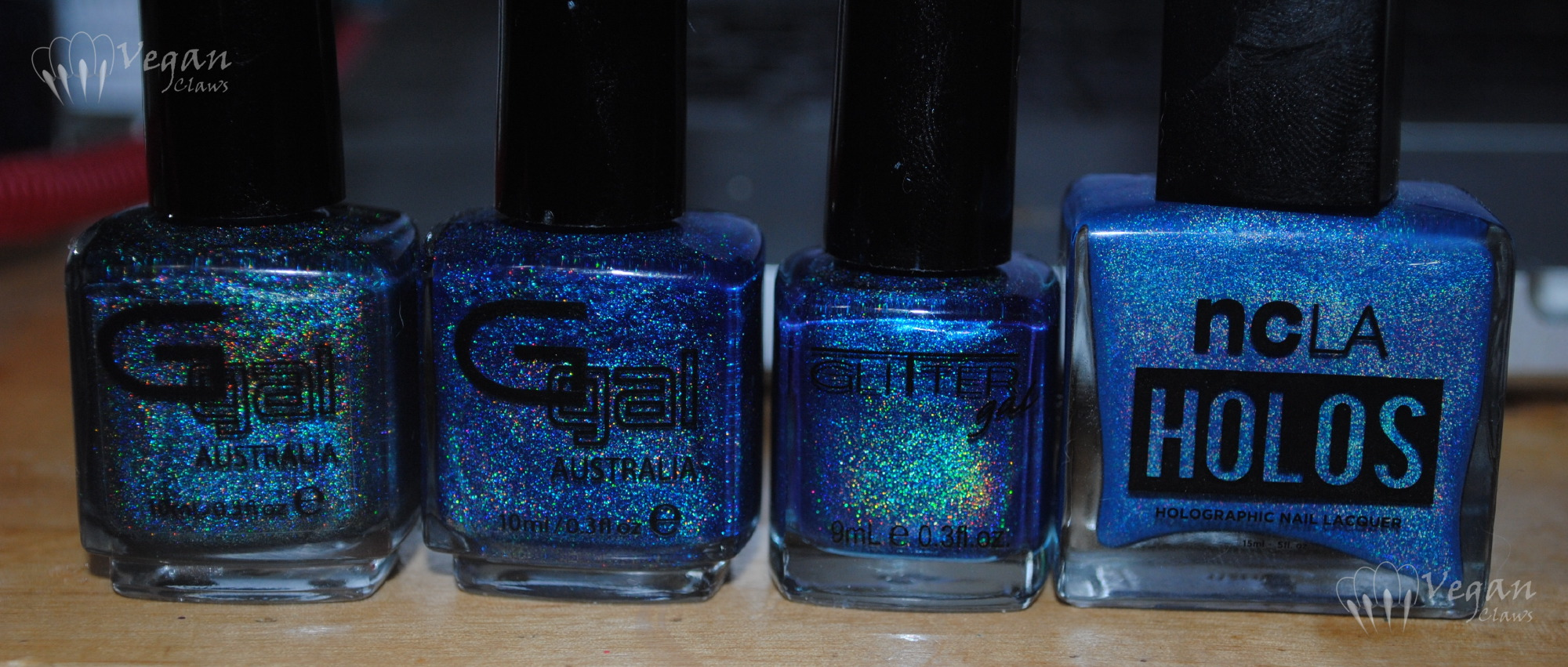 Deep Blue Holo Comparison featuring Glitter Gal and NCLA | Vegan Claws